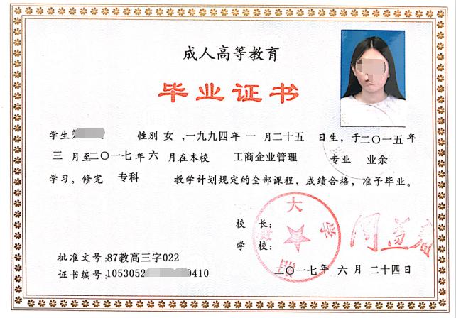 湘潭大学成人高考毕业证书