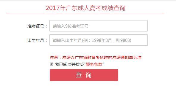 广东成人高考成绩查询